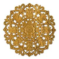 Teak relief panel, 'Cosmic Flowers' - Teak relief panel