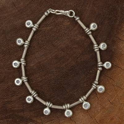 Silver charm bracelet, 'Dainty Blossoms' - Thail Hill Tribe Silver Charm Bracelet