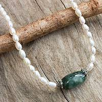 Pearl and jade choker, 'Purity and Love' - Artisan Crafted Pearl and Jade Necklace
