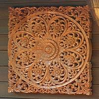 Teak relief panel, 'Floral Universe' - Floral Wood Relief Panel