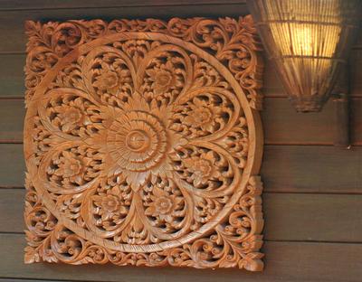 Teak relief panel, 'Floral Universe' - Floral Wood Relief Panel