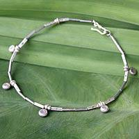 Silver anklet, 'Dainty Blossoms' - 950 Silver Charm Anklet