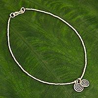 Silver anklet, 'Secret Circle' - Thai Hill Tribe Silver Anklet