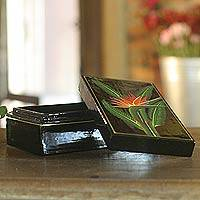 Lacquered wood box, 'Bird of Paradise' - Lacquerware Mango Wood Decorative Box