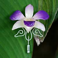 Natural orchid silver stickpin, 'Tendrils' - Natural orchid silver stickpin