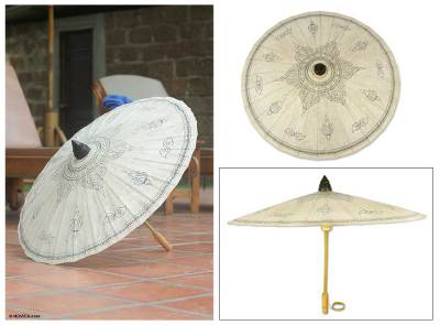 Saa paper parasol, 'Enchanted Sun' - Thai Saa Paper Parasol with Handpainted Motifs