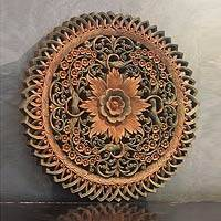 Teak relief panel, 'Bouquet for the Soul' - Teak relief panel