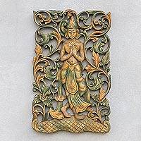 Teak relief panel, 'Angel Walk' - Teak Wood Relief Panel