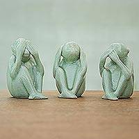 Celadon ceramic statuettes, 'No Evil' (set of 3) - Celadon ceramic statuettes (Set of 3)