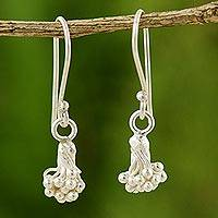 Silver dangle earrings, 'Sea Flower' - Silver dangle earrings