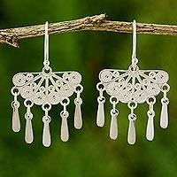Sterling silver filigree earrings, 'Emperor's Fan' - Unique Chandelier Filigree Earrings from Thailand