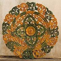 Teak relief panel, 'Regal Blossom' - Teak relief panel