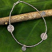 Silver anklet, 'Jungle Dance' - Hill Tribe Silver Charm Anklet