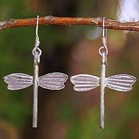 Silver dangle earrings, 'Dragonfly Dreams' - Silver dangle earrings