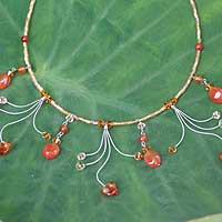 Carnelian waterfall necklace, 'Jungle Dancer' - Carnelian waterfall necklace