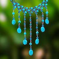 Beaded choker, 'Blue Rain Shower' - Handcrafted Turquoise coloured Waterfall Necklace