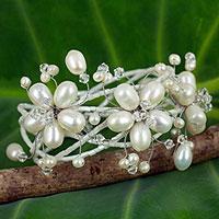 Pearl wrap bracelet, 'Garland' - Hand Made Pearl Wrap Bracelet