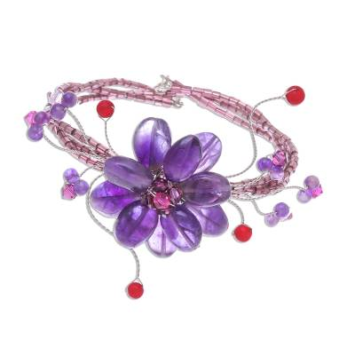 Beaded Amethyst Bracelet from Thailand