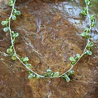 Peridot choker, 'Spiral'  - Beaded Peridot Necklace