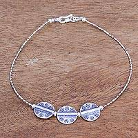 Silver anklet, 'Mystic Origins' - Hill Tribe 950 Silver Anklet