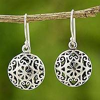 Sterling silver dangle earrings, 'Medallion' - Handmade Sterling Silver Dangle Earrings