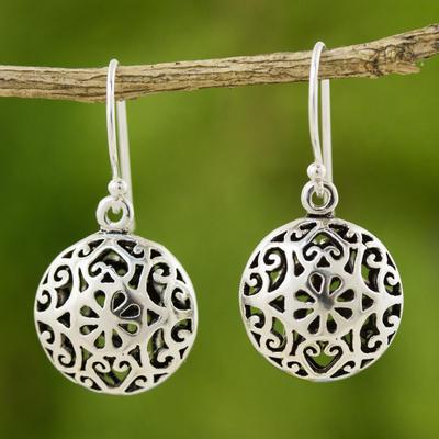 Sterling silver dangle earrings, 'Medallion' - Handmade Sterling Silver Dangle Earrings