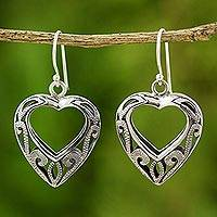 Sterling silver heart earrings, 'Moonlit Hearts' - Hand Made Sterling Silver Dangle Earrings