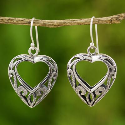 Sterling silver heart earrings, 'Moonlit Hearts' - Hand Made Sterling Silver Dangle Earrings