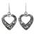 Sterling silver heart earrings, 'Moonlit Hearts' - Hand Made Sterling Silver Dangle Earrings (image 2a) thumbail