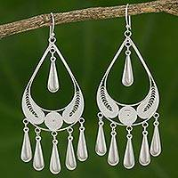 Sterling silver filigree earrings, 'Mystic Rain' - Handcrafted Sterling Silver Chandelier Earrings