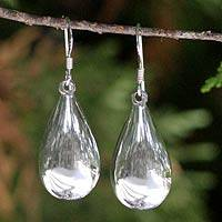 Sterling silver dangle earrings, 'Moon Teardrops'