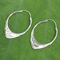 Silver hoop earrings, 'Silver Boomerang' - Unique Sterling Silver Earrings from Thailand