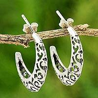 Silver half-hoop earrings, 'Silver Lace'