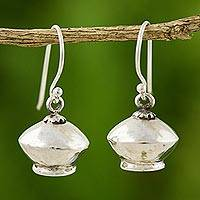 Sterling silver dangle earrings, 'Silver Belles' - Unique Sterling Silver Dangle Earrings