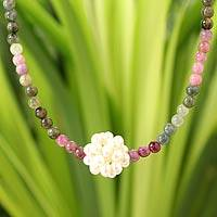 Pearl and tourmaline necklace, 'Ivory Chrysanthemum' - Thai Inspired Beaded Tourmaline and Pearl Necklace