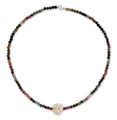 Pearl and tourmaline necklace, 'Ivory Chrysanthemum' - Beaded Tourmaline and Pearl Necklace