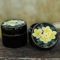 Lacquered wood boxes, 'Frangipani' (pair) - Hand Made Floral Mango Wood Decorative Boxes (Pair)