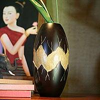 Mango wood vase, 'Cataclysm' - Handcrafted Decorative Mango Wood Vase