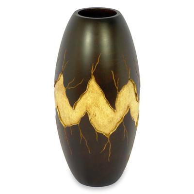 Handcrafted Decorative Mango Wood Vase Cataclysm Novica