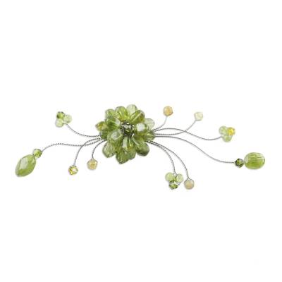 Peridot and crystal brooch pin