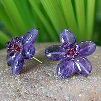 Amethyst button earrings, 'Peace Flower' - Hand Crafted Beaded Amethyst Earrings
