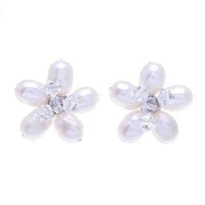 Fair Trade Bridal Pearl Button Earrings