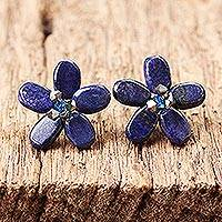 Lapis lazuli button earrings, 'Blue Flower' - Floral Lapis Lazuli Button Earrings