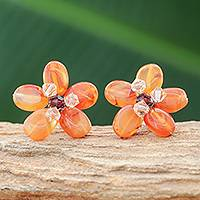 Carnelian button earrings, 'Honey Flower' - Beautiful Floral Earrings Accented with Crystal