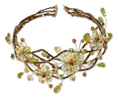 Peridot choker, 'Garland' - Hand Made Floral Carnelian and Quartz Choker Necklace