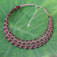 Garnet choker, 'Cherry Fishnet'