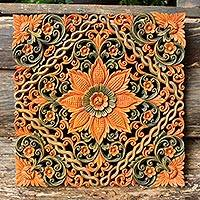 Teak relief panel, 'Floral Star' - Floral Wood Relief Panel