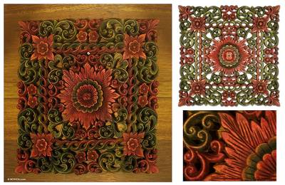 Teak relief panel, 'Floral Trellis' - Floral Wood Relief Panel from Thailand