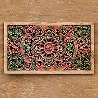 Teak relief panel, 'Magic Lotus' - Floral Wood Relief Panel from Thailand