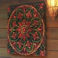 Teak relief panel, 'Magic Garden' - Fair Trade Floral Wood Relief Panel